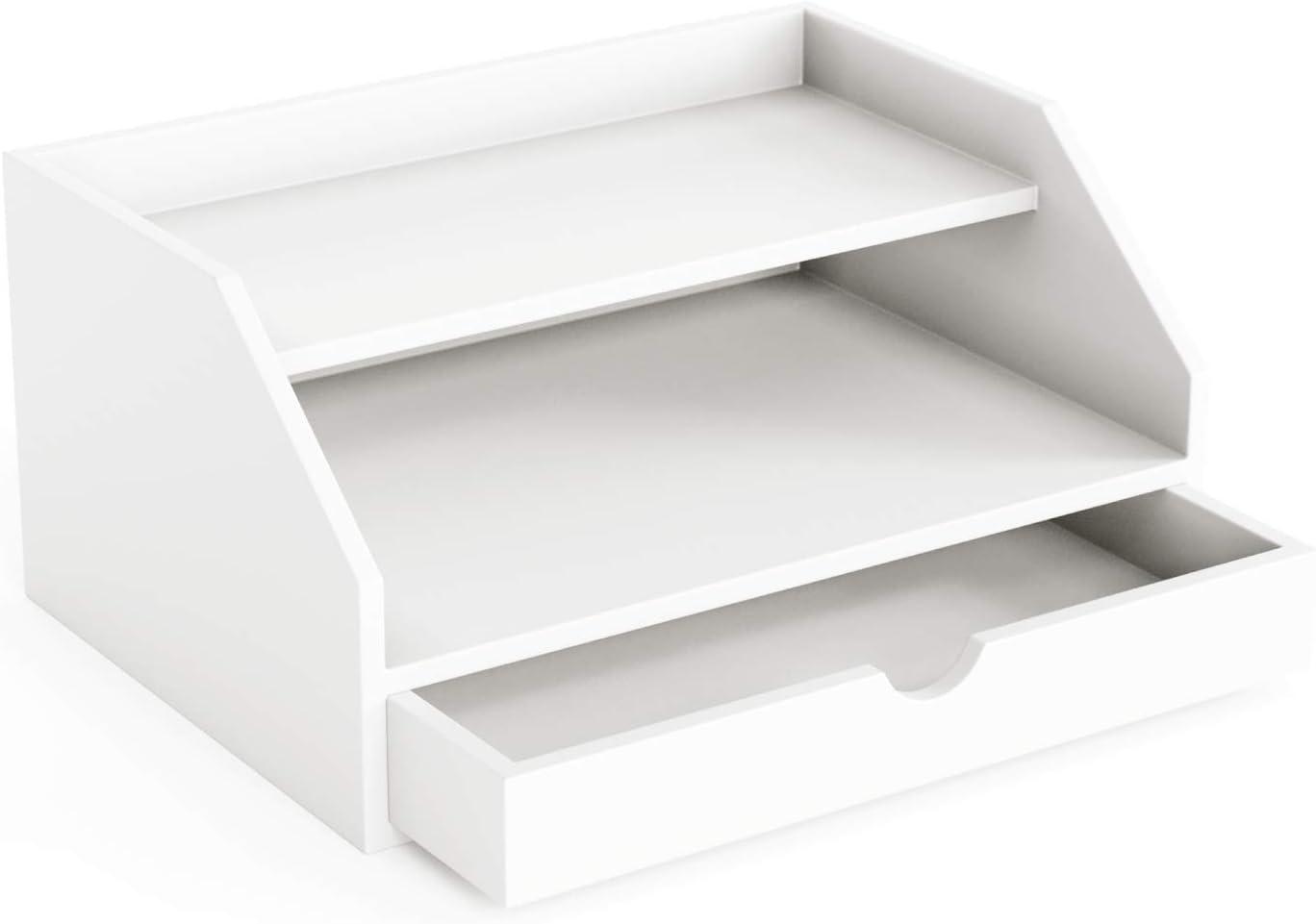 """Ballucci Desk Organizer with Drawer, 2 Tier Paper Office Supplies Desk Organizer, 13 2/5"""" x 9 3/5"""" x 6"""", White"""