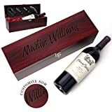 Be Burgundy - Personalized Rosewood Finish Single Wine Box Set with Tools - Wine Presentation Box - Anniversary Ceremony Housewarming Wedding Wine Gift Box Holder - Custom Engraved for Free -1