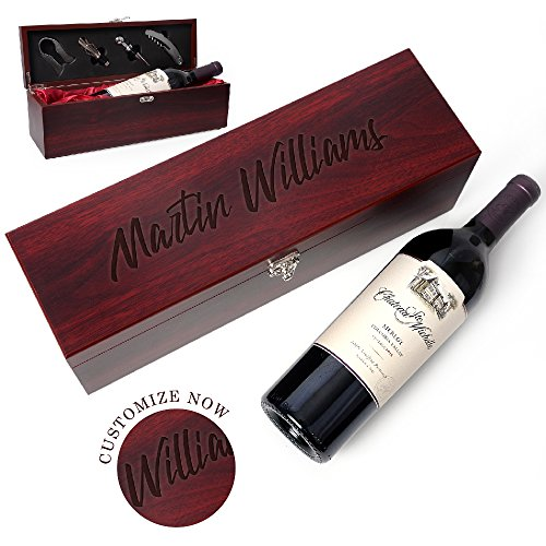 Be Burgundy – Personalized Rosewood Finish Single Wine Box Set with Tools – Wine Presentation Box – Anniversary Ceremony Housewarming Wedding Wine Gift Box Holder – Custom Engraved for Free -2 For Sale