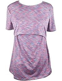 Women Breastfeeding Nursing Tops Short Sleeve Stripe Cotton Maternity Nursing Shirt