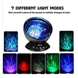 Dinlly Ocean Wave Projector, Touch Sensor 12 LED & 7 Color Night lights with Remote Control Built-in Music Player Decoration Lamp for Projecting Multi-Colored Waves on to Wall or Ceiling(Black)