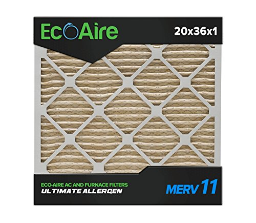 Eco-Aire 20 x 36 x 1 Premium MERV 11 Pleated Air Conditioner Filter, Box of 6