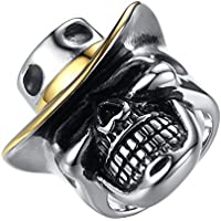 LineAve Men's Stainless Steel Gothic Cowboy Hat Skull Biker Ring, Size 7 - 15
