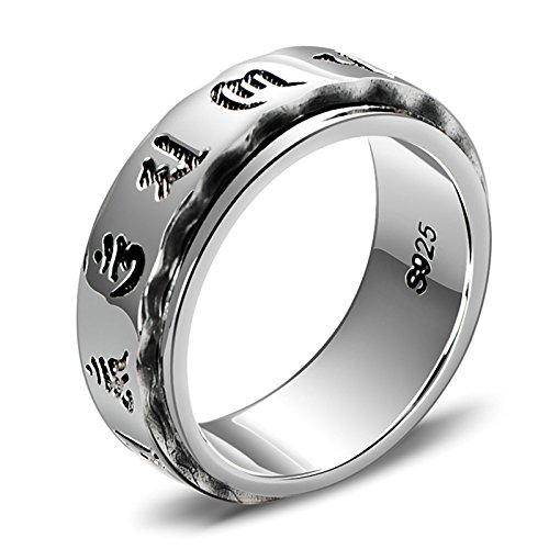 (ANAZOZ 7MM Vintage Tibetan Buddhist Mantra Om Mani Padme Hum S925 Sterling Silver Ring Bands Silver Size 12.5)