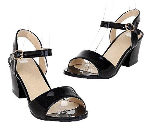 Women Toe Sandals Solid VogueZone009 Heels Patent Leather Kitten Black Open Buckle dwn461