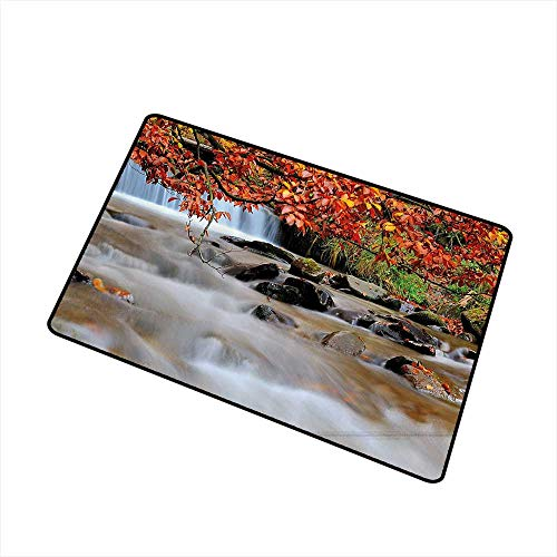 Mdxizc Welcome Door mat Waterfall Decor Waterfall with Enormous Rocks and Orange Yellow Autumn Trees Fall Leaf Artwork W35 xL59 All Season General Orange