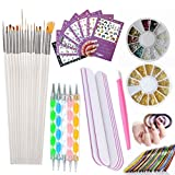 Nail Art Tools Manicure Kit 15PCS Nail Painting Brush 5PCS Nail Dotting Pen 2 Boxes Nails Rhinestones Decoration 8PCS Sticker Decal 10PCS Striping Tape 5PC Nail Files 1PC Stick Pusher Pedicure Set