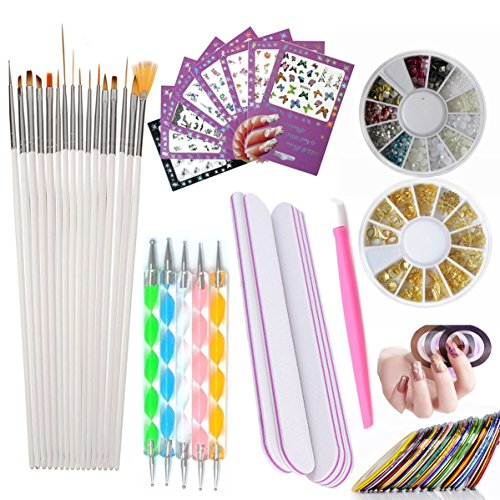 Nail Art Tools Manicure Kit 15PCS Nail Painting Brush 5PCS Nail Dotting Pen 2 Boxes Nails Rhinestones Decoration 8PCS Sticker Decal 10PCS Striping Tape 5PC Nail Files 1PC Stick Pusher Pedicure Set by LoveOurHome
