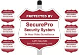 """1 """"Protected By SecurePro Security System"""" Yard Sign (9"""" x 9"""") Mounted on a 36"""" Long Stake Post with 6 Security Alarm System Stickers Included - Red & White"""