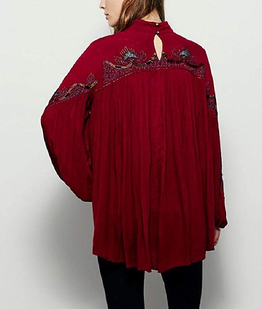 AngelSpace Women Lantern Sleeve Keyhole Cut Out V-Neck Loose Boho T-Shirt Top