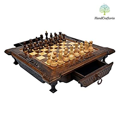 Big Handmade Walnut Wood chess set 19.3 inch with 2 drawers (storage boxes). High Detail Unique Board Game. Gorgeus and Amazing gift from Armenia Europe