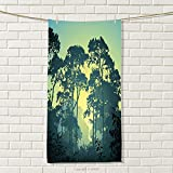 smallbeefly Nature Travel Towel Mist Forest Scenery with Tree Tops at Sunset Hazy Woodland Rural Landscape 100% Microfiber Hunter and Green Size: W 27.5'' x L 88''