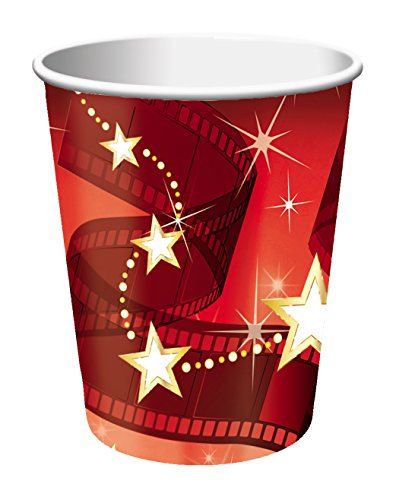 Creative Converting 8 Count Hollywood Lights Hot/Cold Cups, 9 oz, Red/White - -