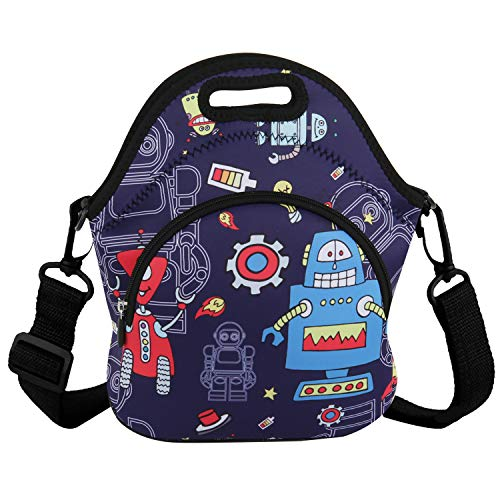 Cute Neoprene Lunch Bag Reusable Robot Tote Bag Insulated Lunch Box Adult Large Lunch Tote Handbag Fordable for Men & Women, Boys & Girls,