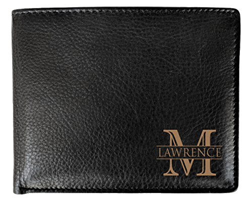 Engraved Black Leather (Corner Monogram Initial Engraved Personalized One Black Wallet Personalized Men's Bifold Leather RFID Blocking Wallet for Groomsman Best Man Wedding Party Gift)