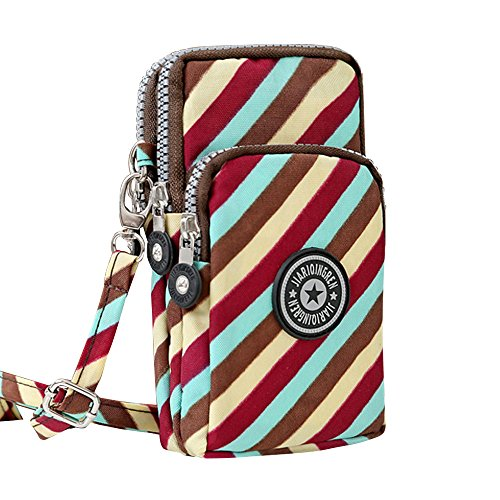 Wocharm New Multifunction Cell Phone Bag Purse Mini Crossbody Wristlet Handbags Colourful Twill