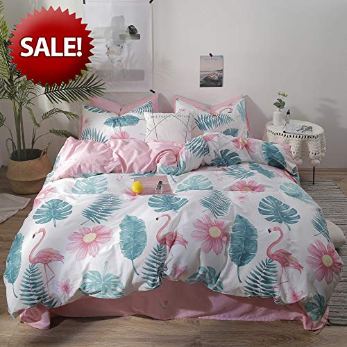 Tropical Leaves Bedding Set Queen Flamingo Girls Bedding Duvet Cover with Zipper Pink Teens Bedding Comforter Cover 3 Piece Bedding Set for Kids Women Botanical Quilt Cover Full White, No Comforter (Bedding Tropical Queen Sets)