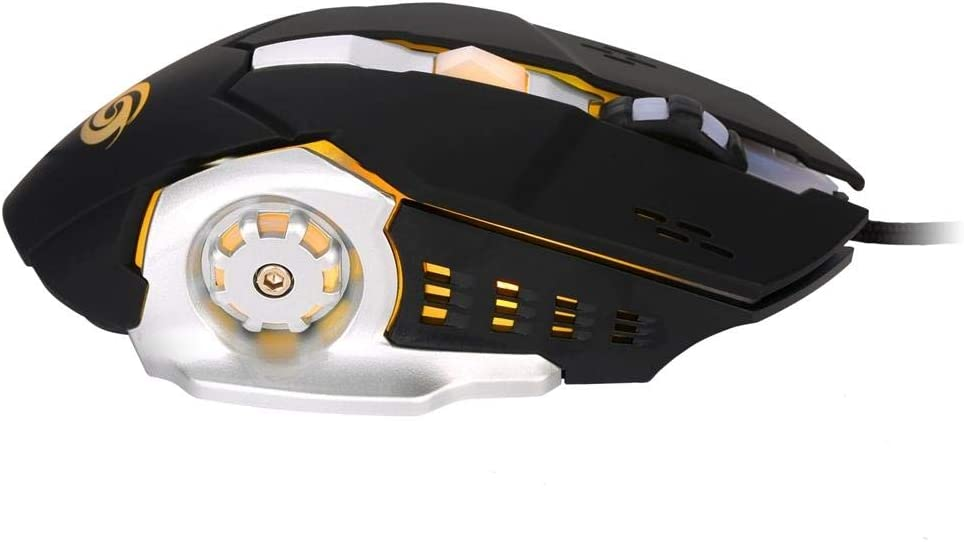Semoic K1026 General Gaming Mouse 6 Buttons Led Optical Ergonomic USB Wired Mice Professional K1026 1000-3200 Dpi Adjustable Led Mouse Black