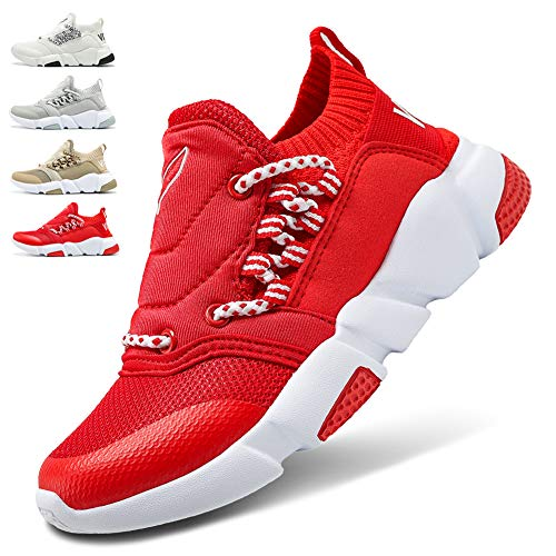 WETIKE Boys Shoes Kids Sneakers Girls Lightweight Sports Shoes Slip On No Tie Running Walking School Shoes Casual Trainer Shoes Soft Knit Tennis Mesh Shoes Red Size 3.5