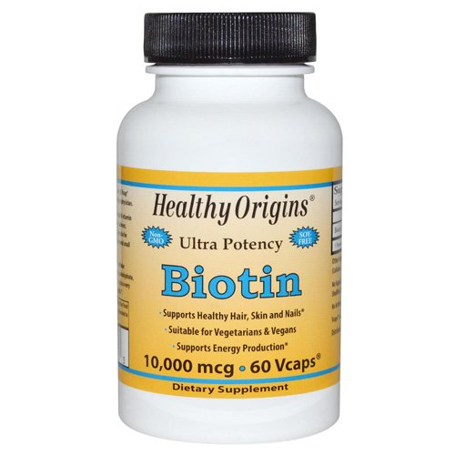 Healthy Origins Ultra Potency Biotin - 10,000 mcg - 60 Vegetarian Capsules - Gluten Free - Supports Healthy Hair, Skin and Nails