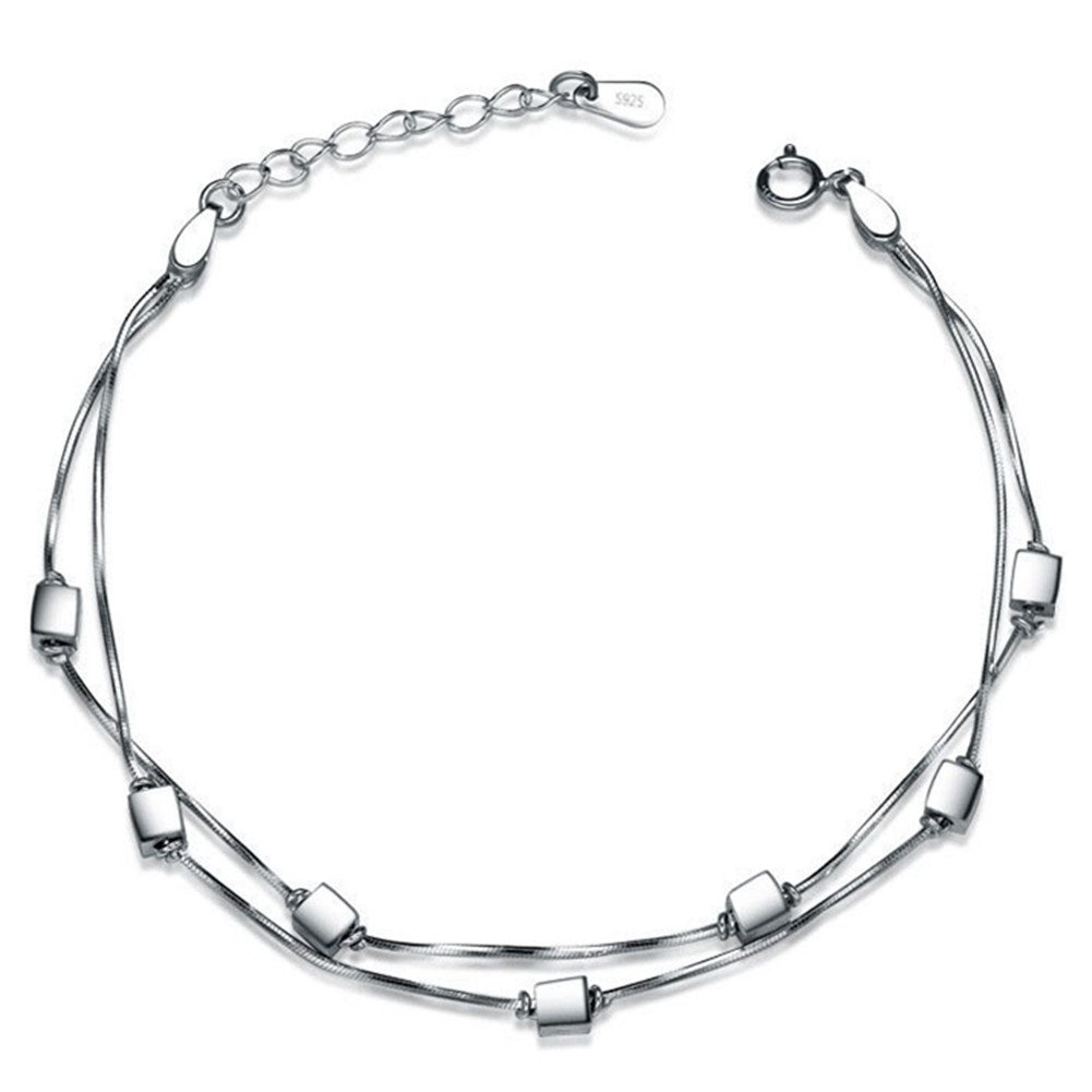 S925 Silver Plated Wire drawing Chain Small square cube Women Adjustable Ankle Bracelet, 7.9'' lobster clasp 7.9'' lobster clasp BulingVV BLVV28