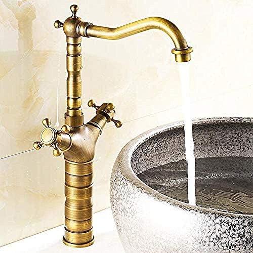 Honana 蛇口, 供給ホース銅とタップバスルームのシンクの蛇口洗面器のミキサータップお湯と水の混合水栓ダブルハンドル単穴ハニカムバブラー キッチン蛇口 混合水栓