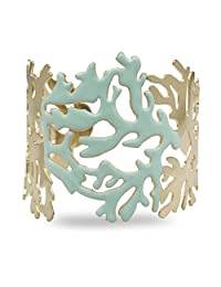 RechicGu Gold Turquoise Blue Lacquer Enamel Coral Filigree Metal Bracelet Bangle Cuff