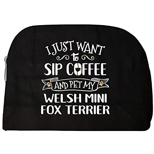 Sip Coffee Pet Welsh Mini Fox Terrier Puppy Dog Lover Gift - Cosmetic Case