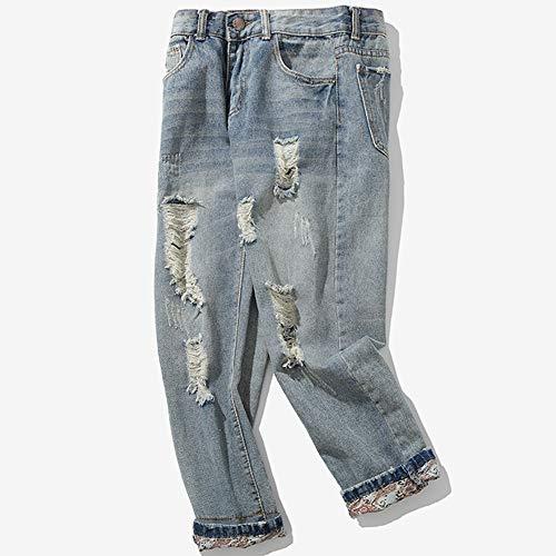 Bovake Classique Grande Homme Droit Pantalon Bleu Denim Pantalons Rétro Casual Trou Jeans Tout Taille Mode rwrzxgXdAq