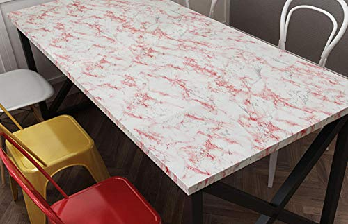Junewind Waterproof Marble Pattern Kitchen Oilproof Sticker Table Self-Adhesive Wallpaper - White Red (0.610M)