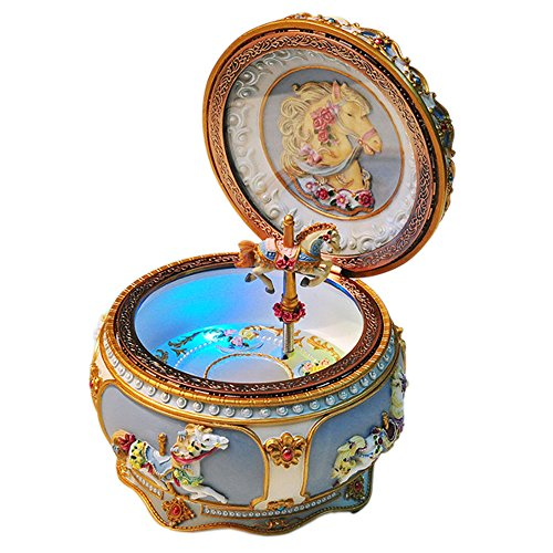 - GnD Mechanical Classical Collectible Music Box with Sankyo 18-Note,A Fine Horse Gracefully Twirls along with Music (Tone:Canon)