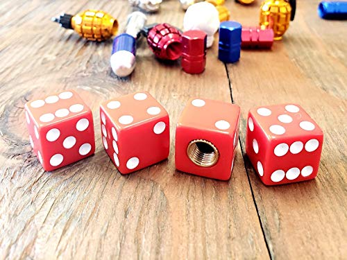Trik Topz Dice - Kustom Kapz Four Pack Red Dice Tire Valve Cap Automobile Motorcycle ATV Harley Truck Hotrod Cycle Trailer rv