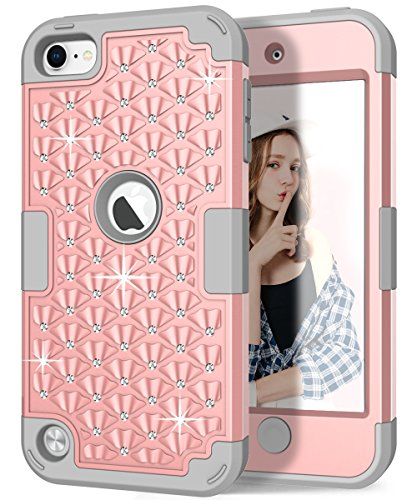 iPod touch Case, Hocase Sparkly Glitter Bling Rhinestone High Impact Silicone Rubber Bumper+Hard Back Cover Hybrid Protective Case for iPod touch 5th/6th Generation - Rose Gold / Grey (Girl Touch 5th Ipod Blue Case Gen)