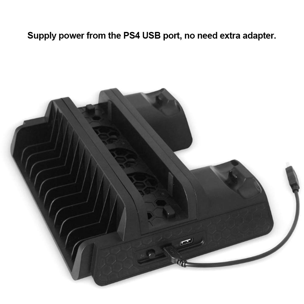 Leslaur Multifunctional Heat Dissipation Base USB Powered Dual Charging Dock Gamepad Charger Games Cards Storage Display Stand for PS4/ PS4 Slim/PS4 Pro by Leslaur (Image #4)