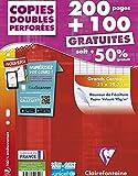 Clairefontaine - 44711c - Copies doubles seyes - Grand carreaux - Paquet de 200 + 100 gratuit