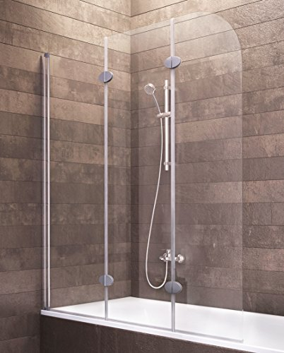 Schulte Duschwand Hamburg, 125 x 140 cm, 3-teilig faltbar, Sicherheits-Glas  klar, Profilfarbe alu-natur, Duschabtrennung für Badewanne