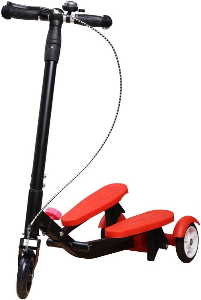 JY-キックボード スクーターキッズペダルステッパースクーター折りたたみ式3高さ調整自転車男の子と女の子の年齢3-15 - ポータブル屋外のおもちゃで - 最大220ポンド 赤