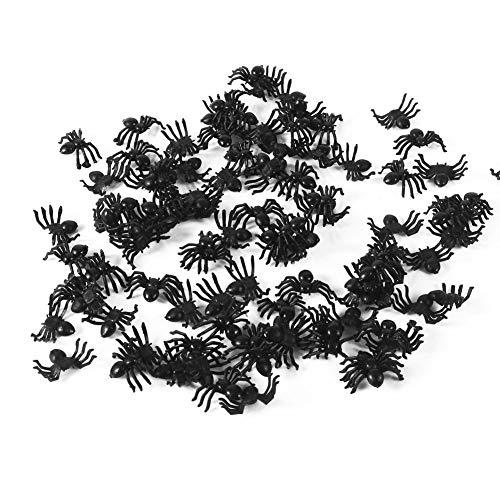 Asixx 50 Piezas de Arañas Negras, Araña de Plástico de Halloween, para Halloween,Fiesta de Disfraces,Carnavales