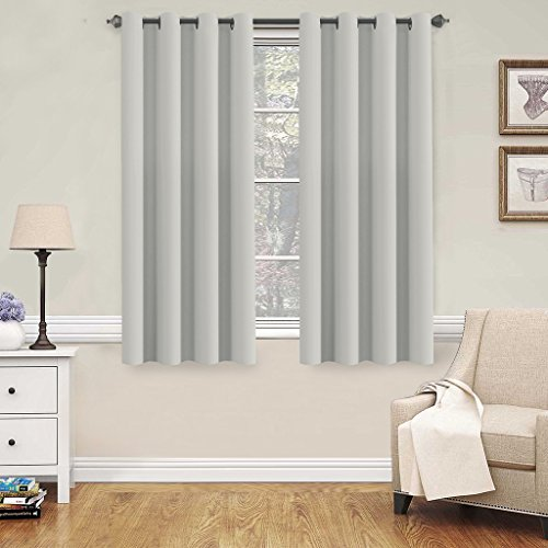 H.Versailtex Blackout Room Darkening Thermal Insulated Grommet Window Curtains for Living Room, Greyish White,52x63-inch,2 - Color Cool Warm Or A Is Black