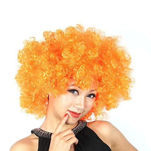 (Fans Explosive Head Wig Dance Bar Wedding Party Dress Performance Props Wig Funny Fluffy Funny Clown Wig Caps Orange)