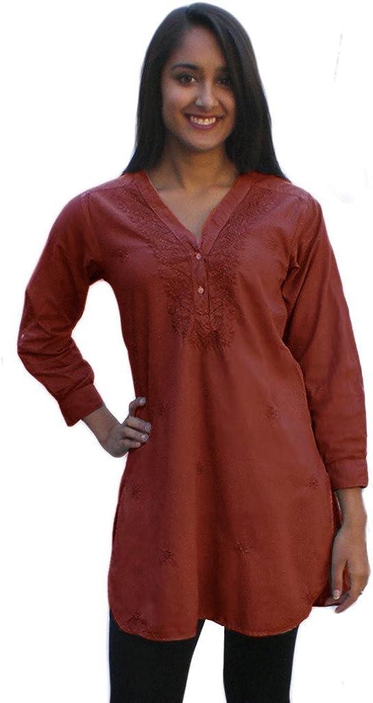 Ayurvastram Pure Cotton, Hand Embroidered Shirt Tunic Top Kurti Blouse