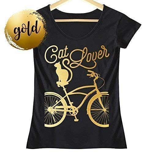 Gato y Bicicleta Dorado Camiseta Mujer
