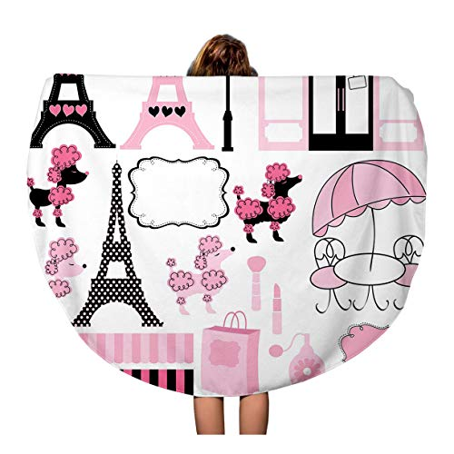 Pinbeam Beach Towel French Paris and Pink Poodle Ooh La Dog Travel 60 inches Round Tapestry Beach Blanket