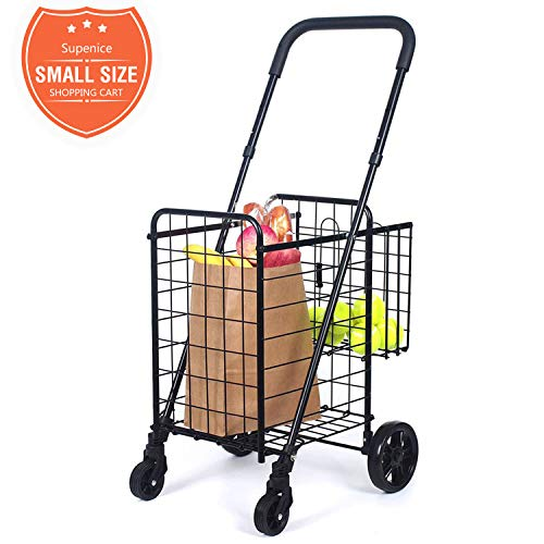 Chrome Eva Double Handle - Compact Folding Grocery Shopping Cart - Supenice (SN7502) Double Basket, Adjustable Height Handle, Easily Collapsible, Light Weight Utility Cart with Rolling Swivel Wheels