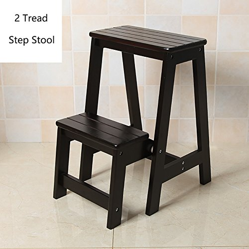 STEP STOOL YXX Wood Folding For Adults & Kids Kitchen Wooden Ladders Small Foot Stools Indoor Folding Stepladder Portable Shoe Bench/Flower Rack (Color : Black, Size : 2 ()
