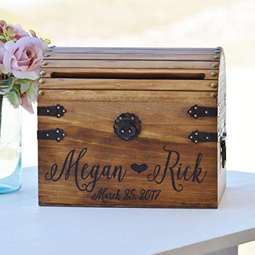 Personalized Wedding Card Box, Wood Wedding Card Box With Slot Option, 5th Anniversary Gift, Wedding Memory Chest, Custom Keepsake Trunk
