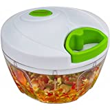Brieftons Manual Food Chopper: Compact & Powerful Hand Held Vegetable Chopper / Mincer / Blender to Chop Fruits, Vegetables, Nuts, Herbs, Onions, Garlics for Salsa, Salad, Pesto, Coleslaw, Puree