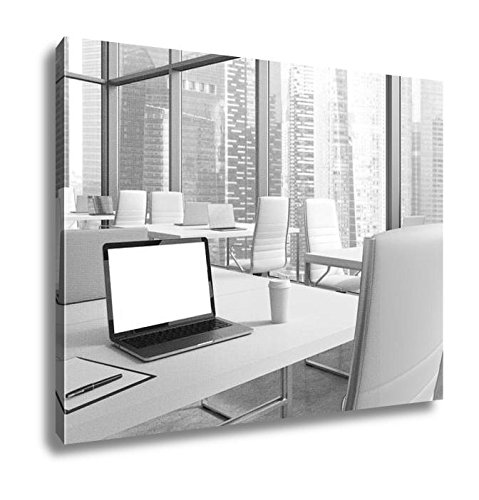 Ashley Canvas Workplaces In A Modern Corner Panoramic Office With Panoramic View Of Singapore  Home Office  Ready To Hang  Black White 20X25  Ag5871925