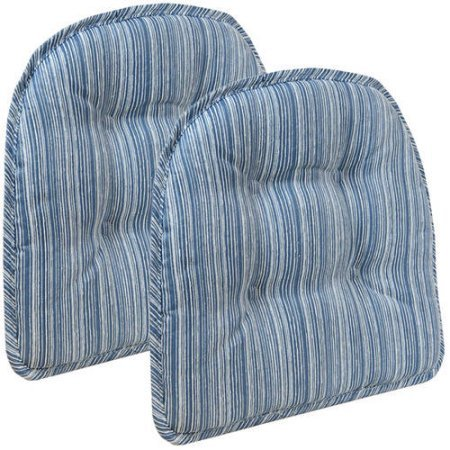 Klear Vu Gripper Sophia Tufted Dining Chair Cushion - Set of 2 (Blue)