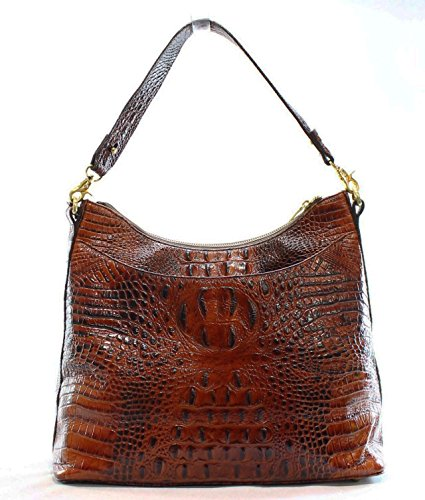 NEW Pecan BRAHMIN AUTHENTIC LEATHER Melbourne EMBOSSED BRISTOL HOBO rYrgnU